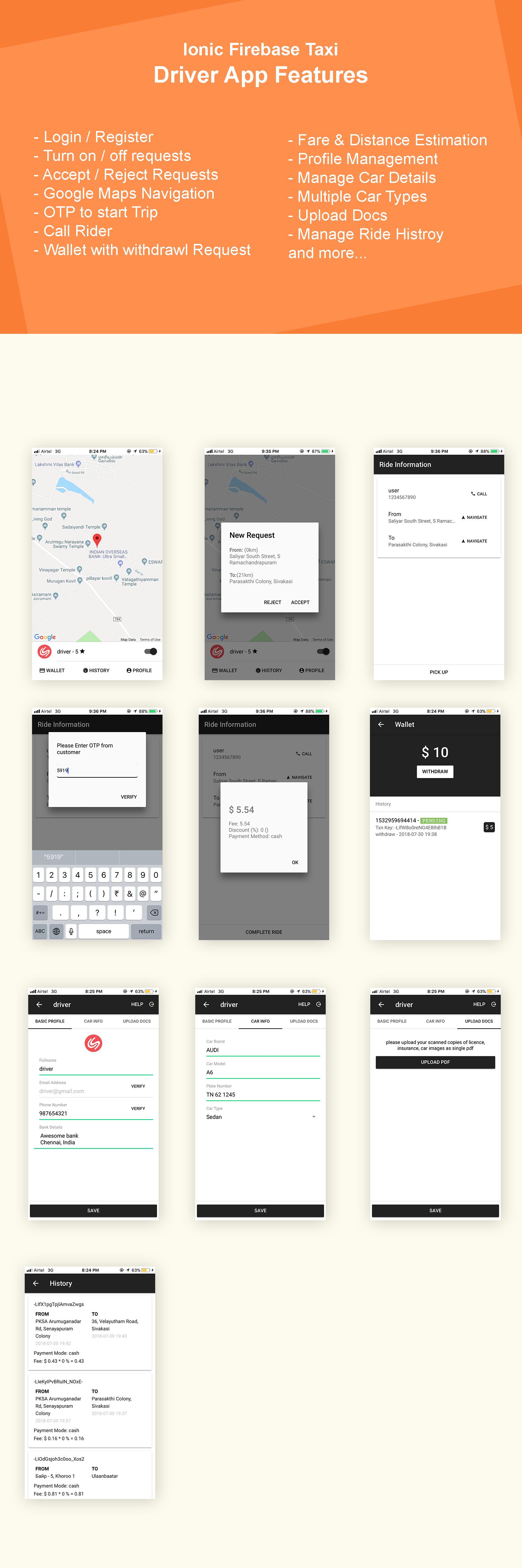 Driver App design, login screen, wallet screen, profile screen