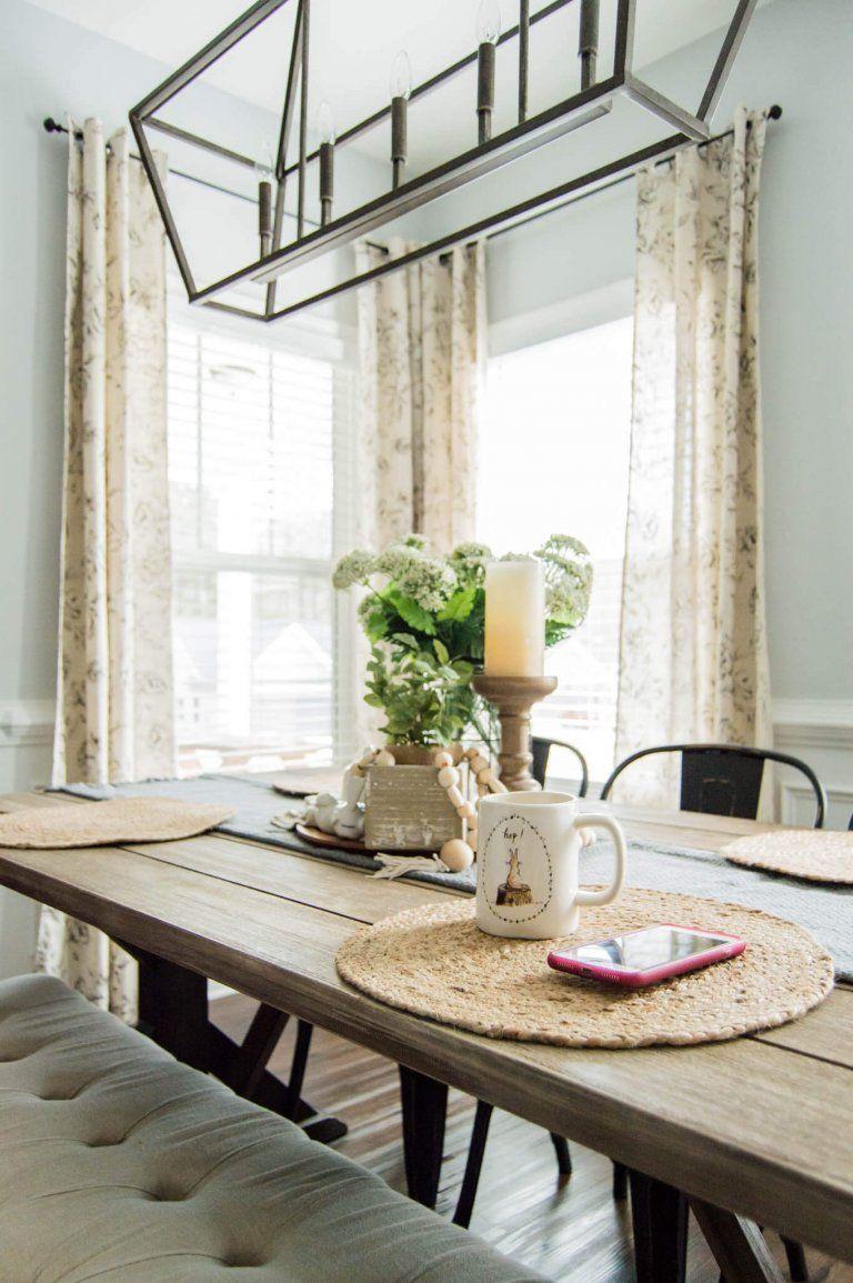 The Perfect Farmhouse Floral Curtains + My Curtain Hanging ... on Farmhouse Dining Room Curtain Ideas  id=39844