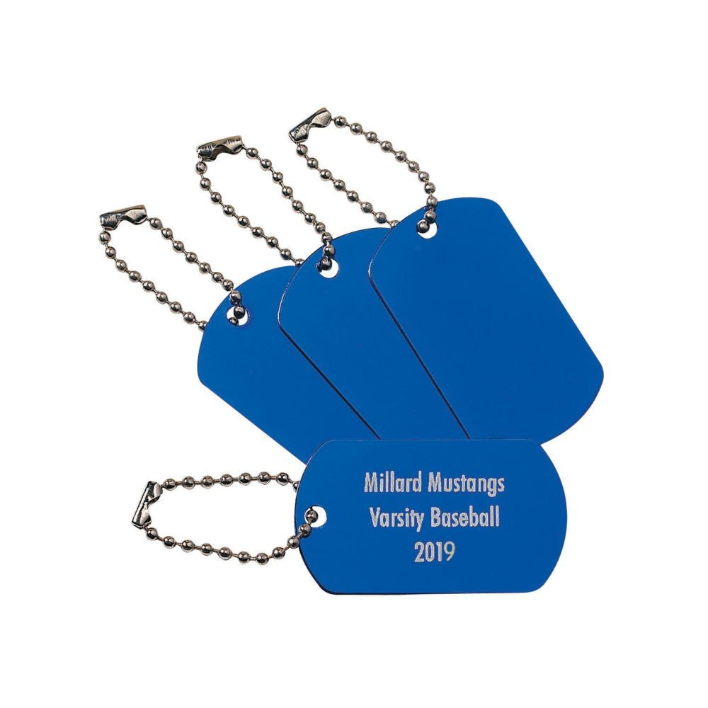 Personalized blue dog tag keychains dog tags