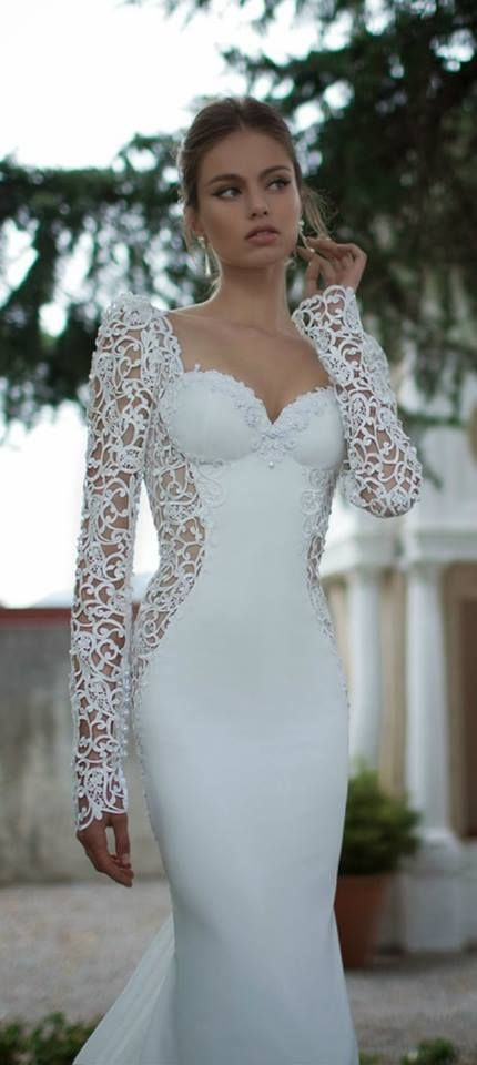 Long Sleeves Mermaid Wedding Dresses Sweetheart Lace White Backless ...