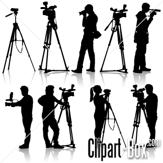 Clipart Cameraman Set Royalty Free Vector Design Camera Silhouette Video Camera Silhouette