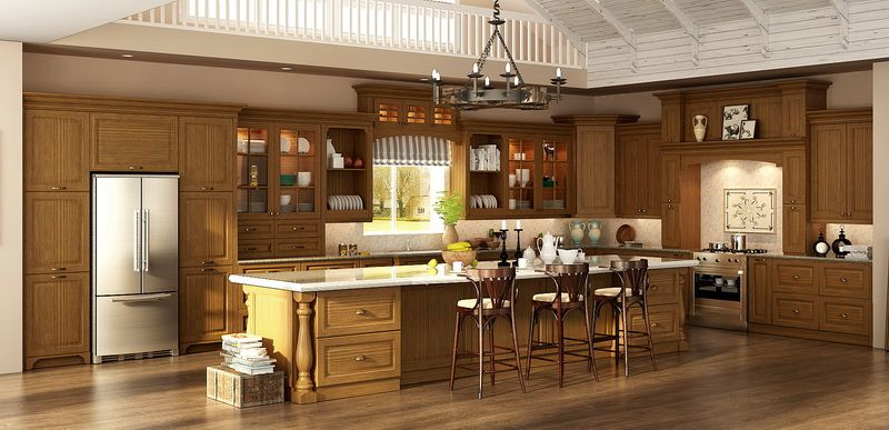 OP15-S02: Traditional Customized Red Oak Wood Kitchen ...