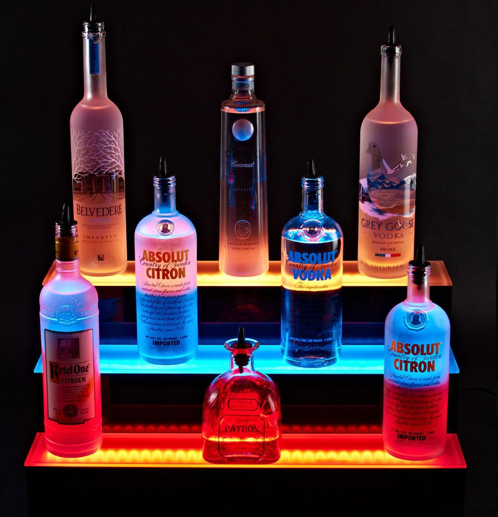 This LED Liquor Display is a jaw dropper! LED Shelving / Best Bar ...