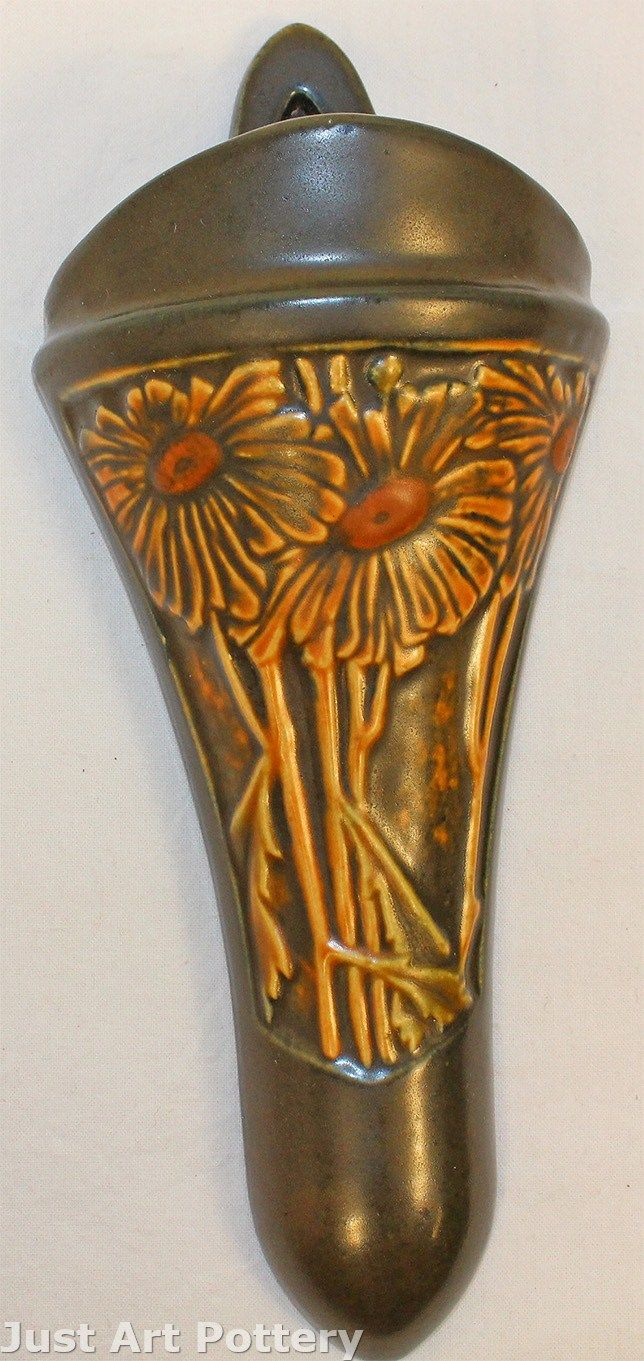 Roseville Pottery Rosecraft Panel Brown Wall Pocket from Just Art Pottery