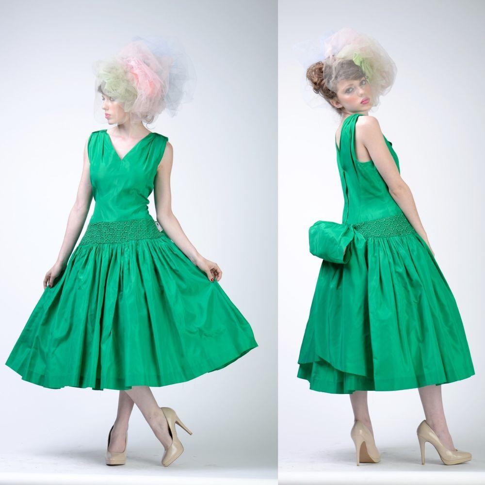 VTG 50s 20s CROCHET LACE Bow FULL CIRCLE SKIRT Wedding Prom Flapper ...