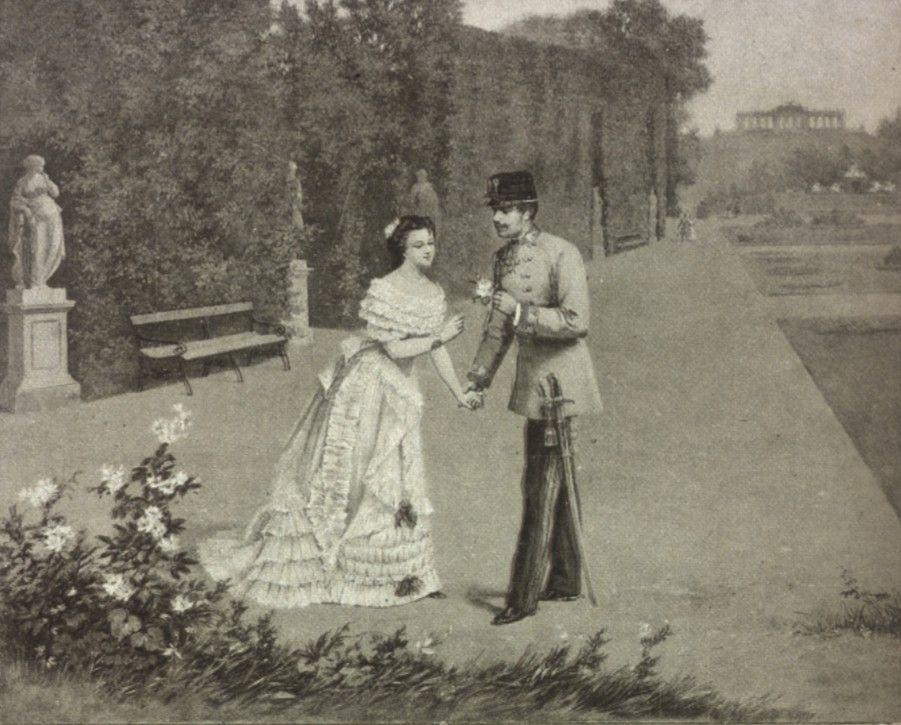 Young Empress Elisabeth Alias Sisi With Her Husband Emperor Franz Joseph I In Schonbrunn Gardens Kaiser Von Osterreich Kaiser Kaiserin Sisi