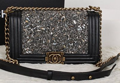 309f0be79d7d CN0015 Chanel Boy Black Diamond Flap Bag Black Lambskin Leather A67025 Gold  Chain
