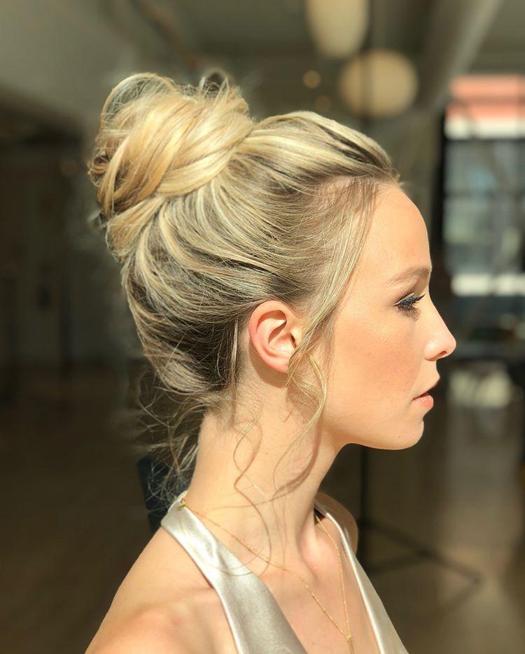 Artfully Messy High Bun Hairstyle By Goldplaited High Bun Hairstyles Short Hair Bun Messy Wedding Hair