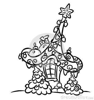 Christmas House Garland Gifts Isolated Image Coloring Page