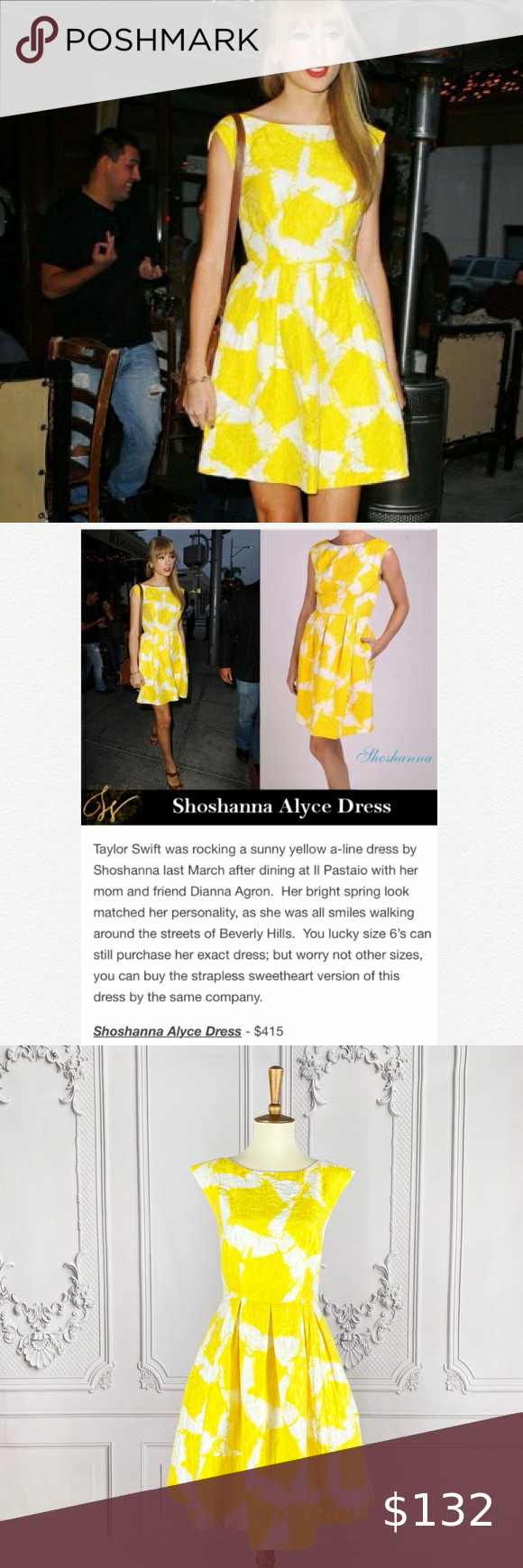 Shoshanna Rare Alyce Dress In Yellow Alyce Dress Clothes Design Dresses [ 1740 x 580 Pixel ]