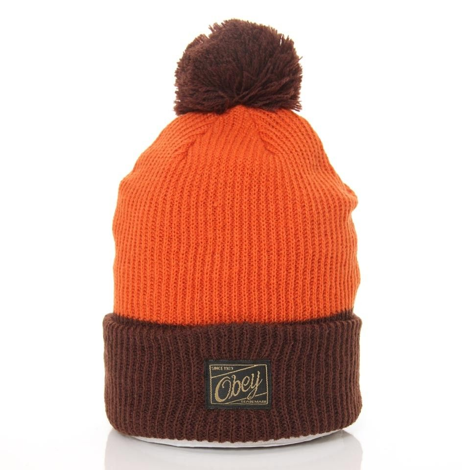 d4aa0fa923d Obey Old Timey Pom Pom Beanie Rust Brown - Obey - Brands  wellgosh ...