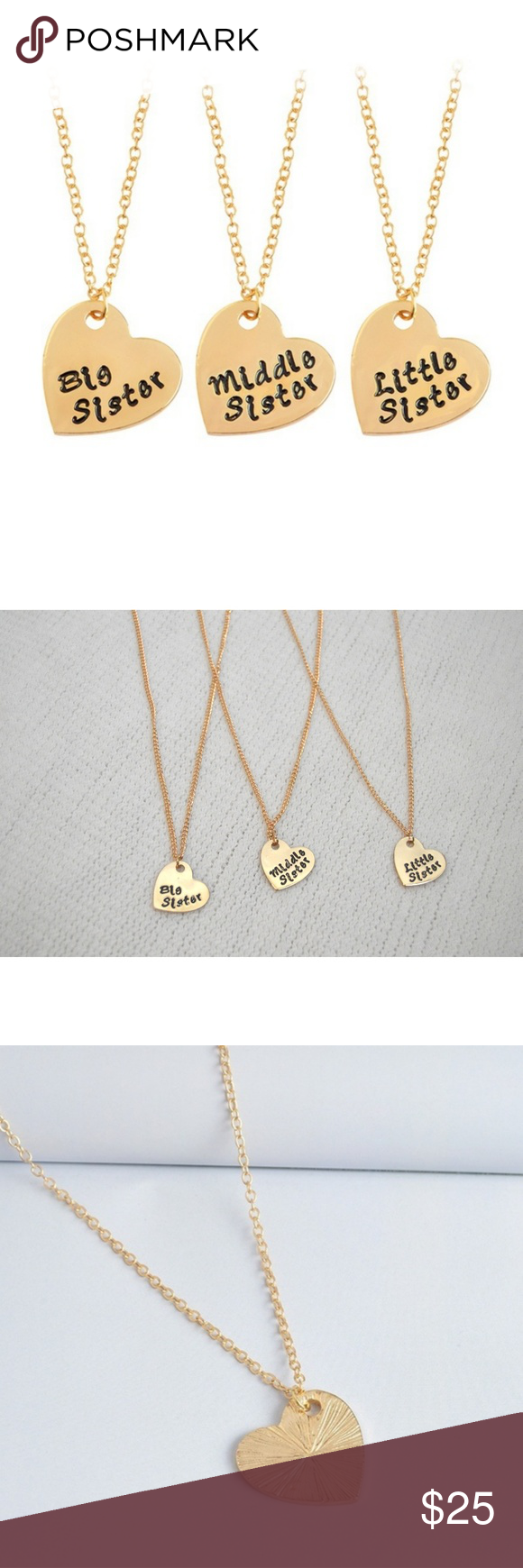 Soldnewset of necklace heart bigmidlil sister boutique chain
