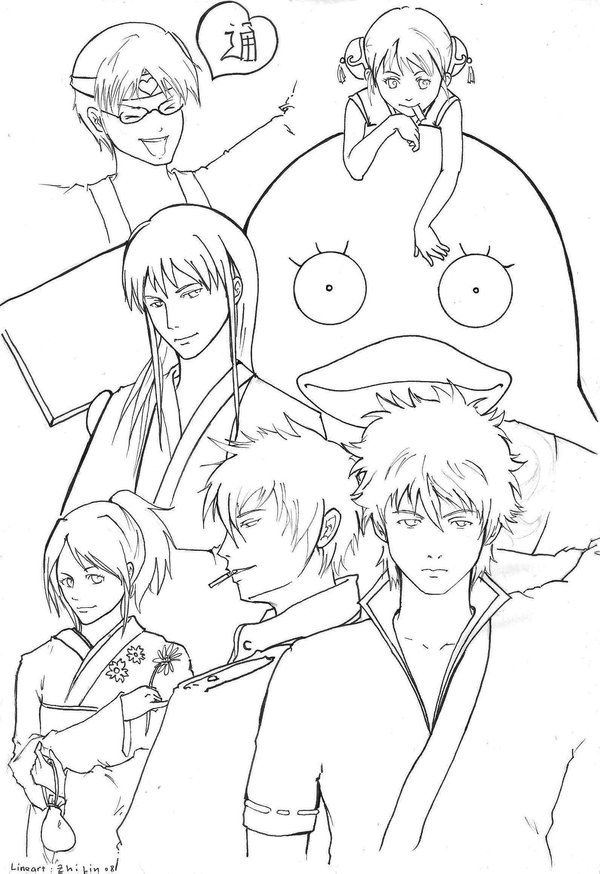 Gintama Coloring Pages Pinterest