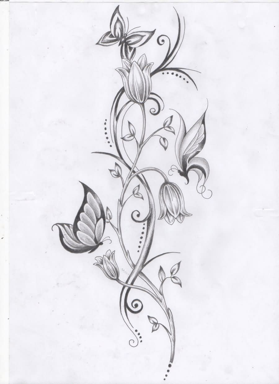 fb23b66a5 Flower Vine And Butterflies Tattoo Design | Tattoobite.com | tattoos ...