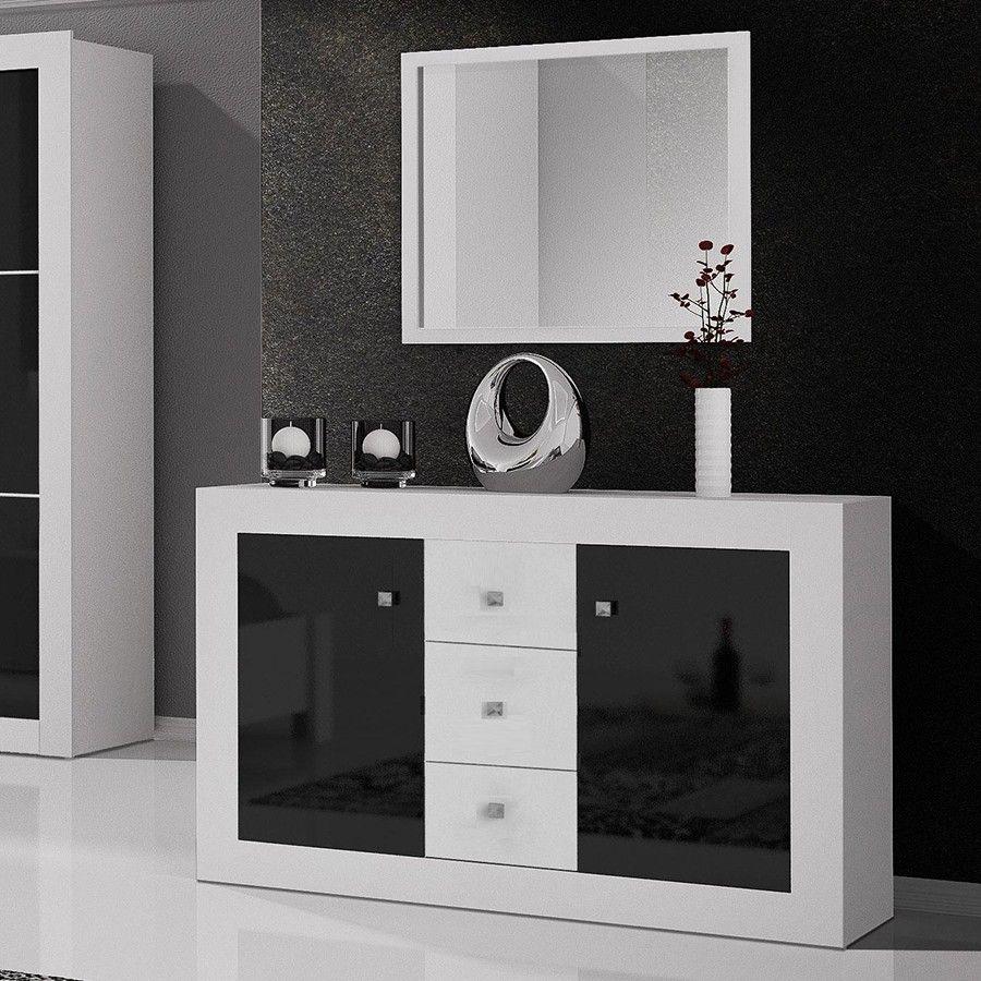 Commode Design Laqu E Noire Et Blanche Florencia 2 Portes 3  # Meubles Buffet Noir Avec Niche Et Tiroirs