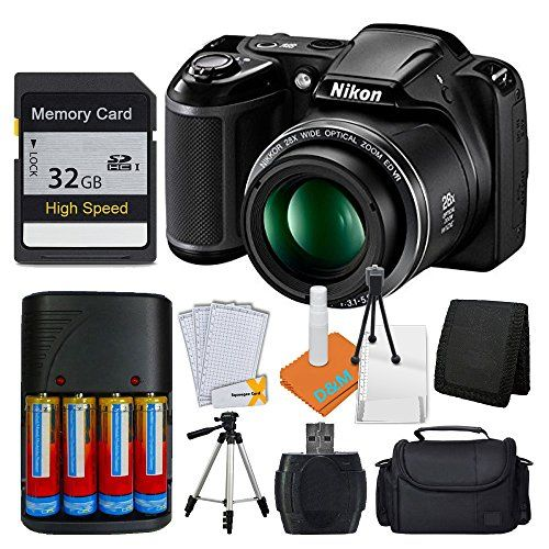 Nikon COOLPIX L340 20MP Digital Camera (Black)  AA Batteries & Charger  32GB SDHC Memory Card  50 Quality Tripod Pro Kit