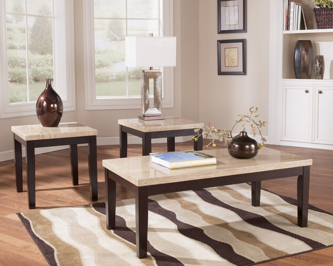 wilderashley cocktail table and two end tables faux travertine
