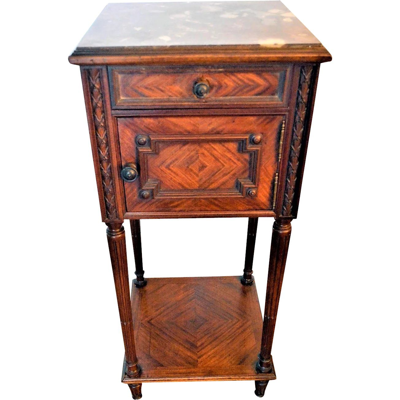 Walnut Bedside Commode Table Nightstand