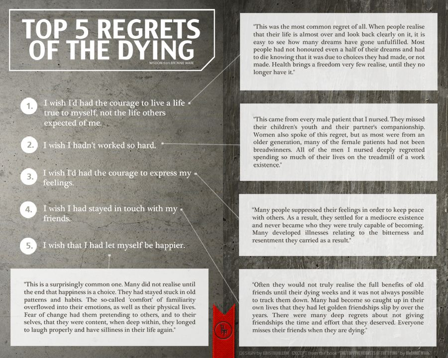 Top 5 regrets of the dying by Bronnie Ware. See them here: http://kameronbayneimages.com/home/5973/lessons-to-learn-before-we-die/#