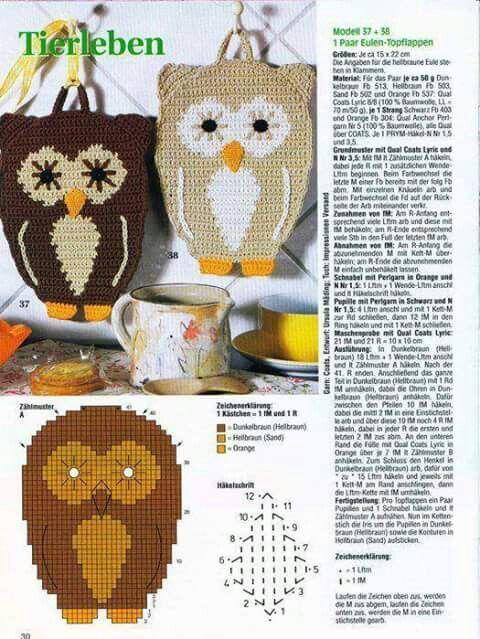 Eulentopflappen Crocheting For The Kitchen Häkeln Topflappen