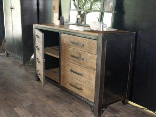 Meuble De Rangement Bois Et Metal.Bahut Bois Et Acier Style Atelier Sur Mesure Furniture