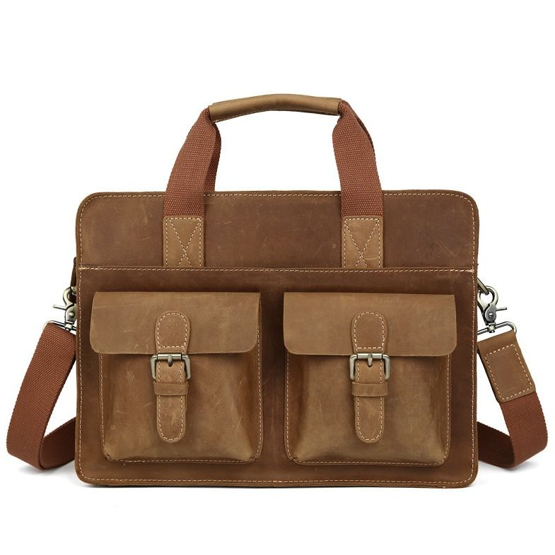 "Vintage Leather Briefcase / Messenger Satchel / 11"" 13"" MacBook 12"" 13"" Laptop Bag"