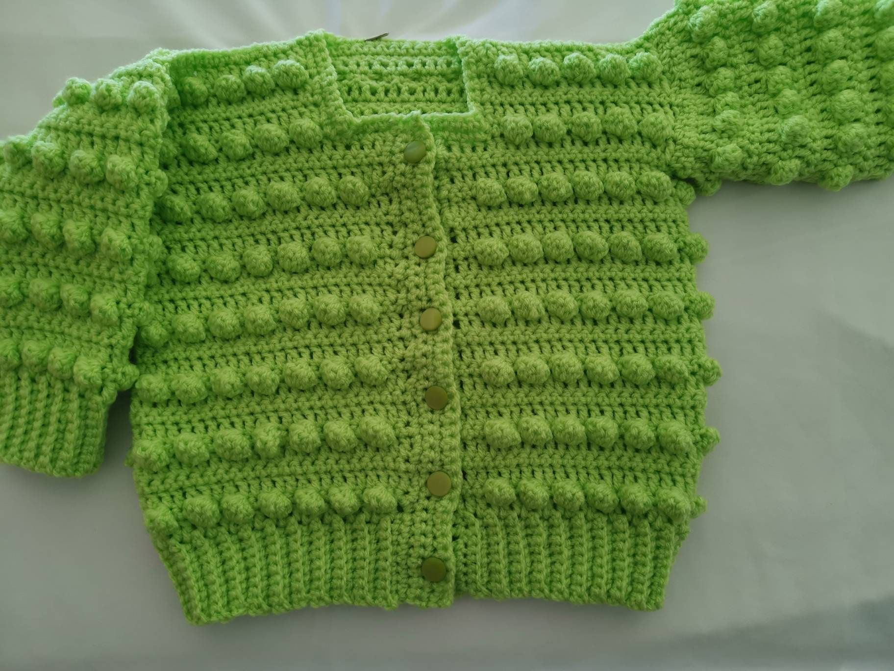 HANDMADE TO ORDER Hand Knitted Bobble Cardigan And Matching Hat