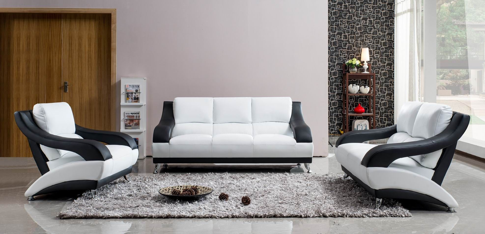 White Leather Sofa Set With Black Accents White Living Room Set White Leather Sofas Leather Living Room Furniture