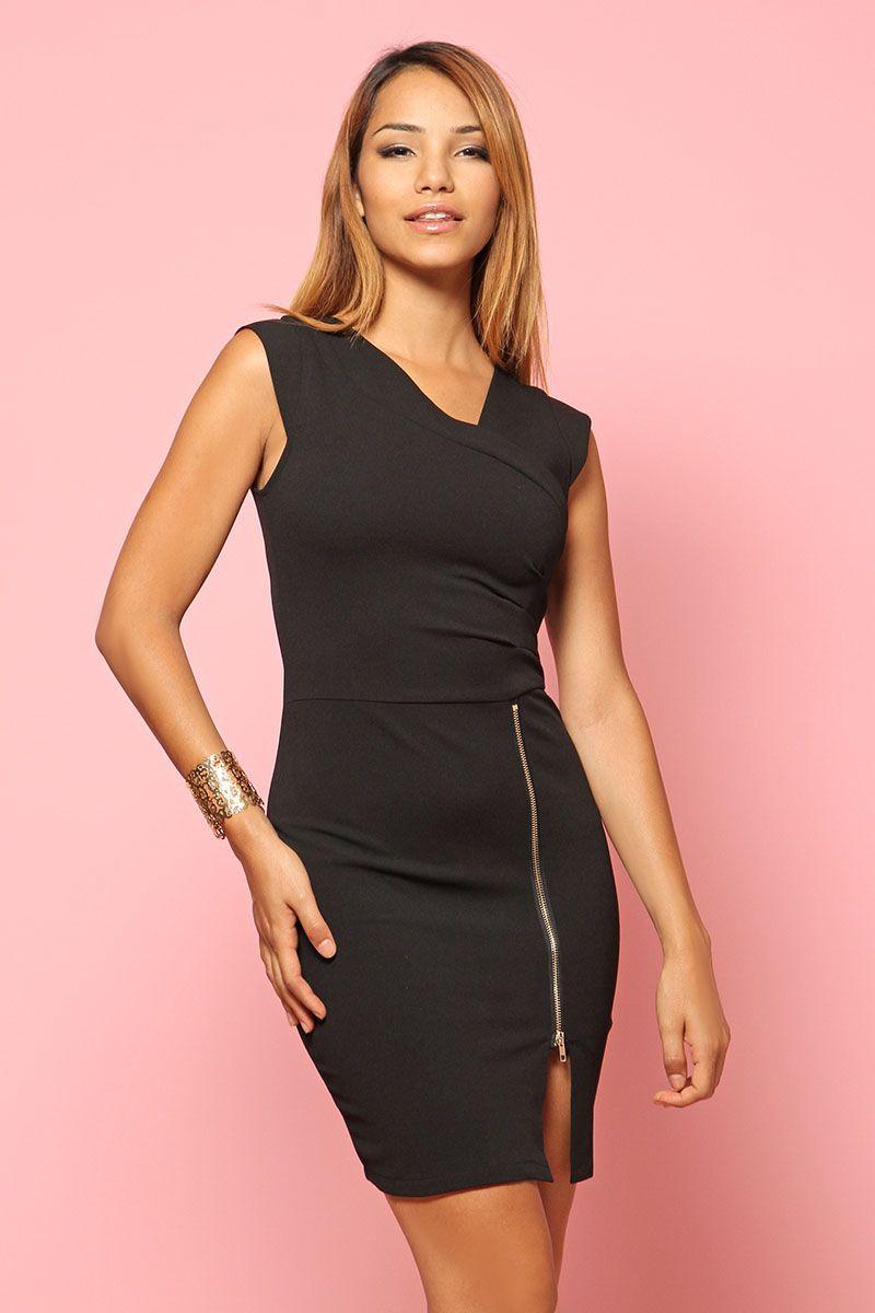 Robe Noire avec zip - INFINIE PASSION