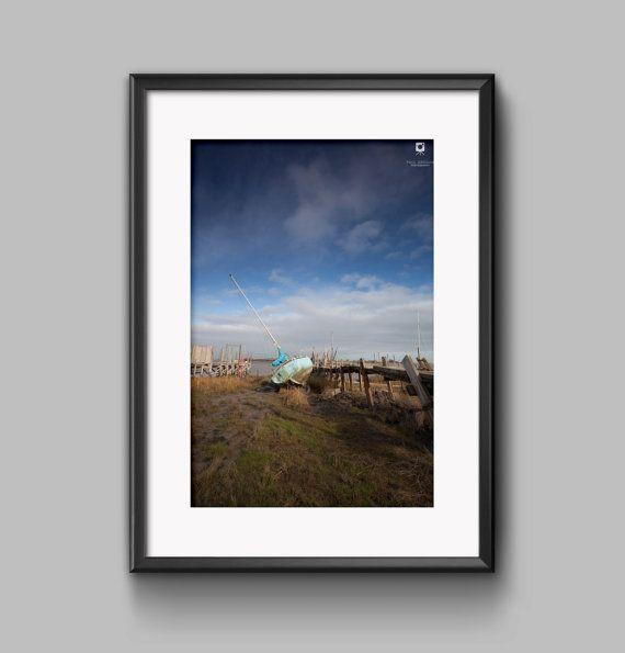Colour landscape photograph of Sting sailing boat moored / Lancashire / blue sky / Wall art / print / home decor / nautical / photography