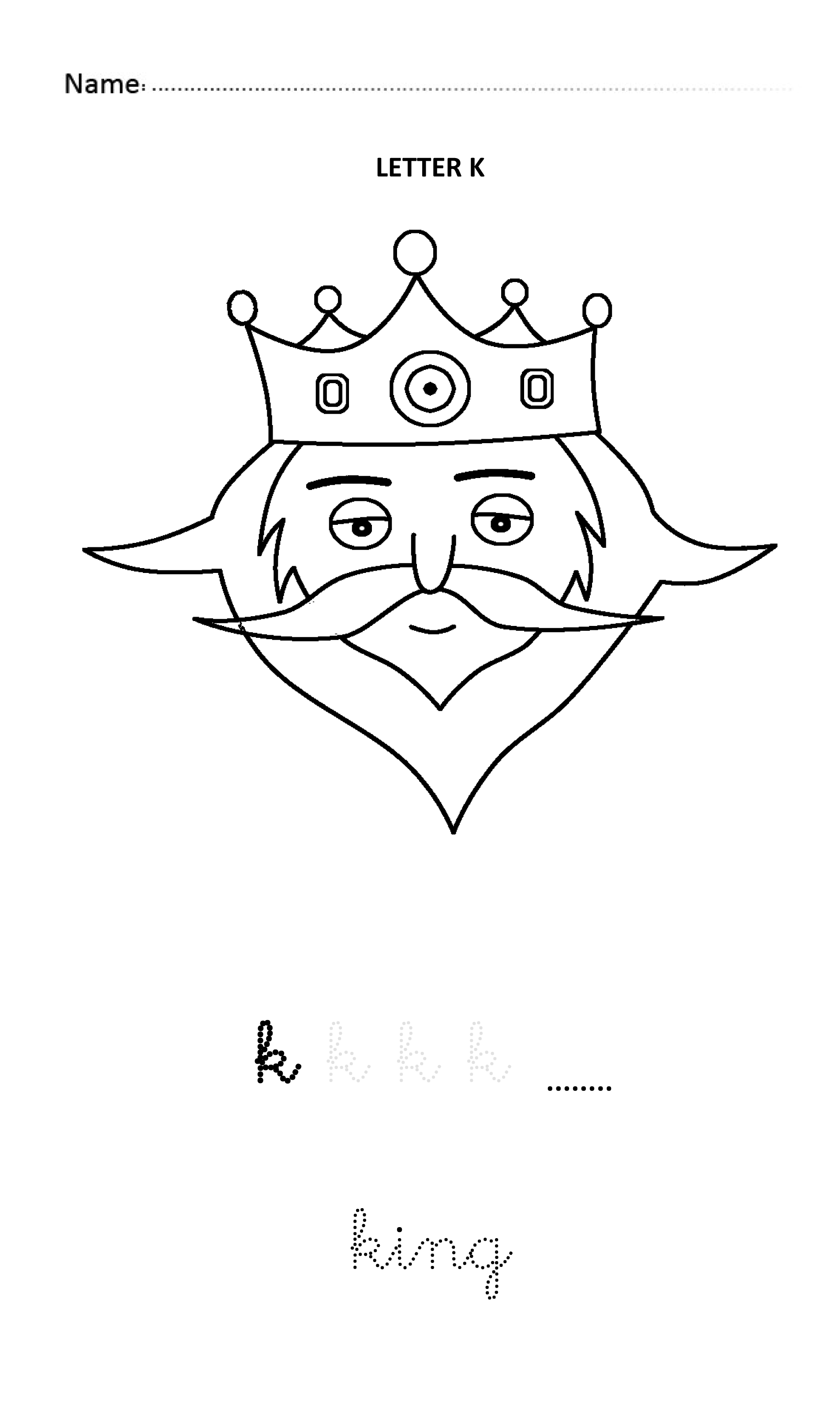 Letter K Easy And Visual Colouring Worksheet For Early