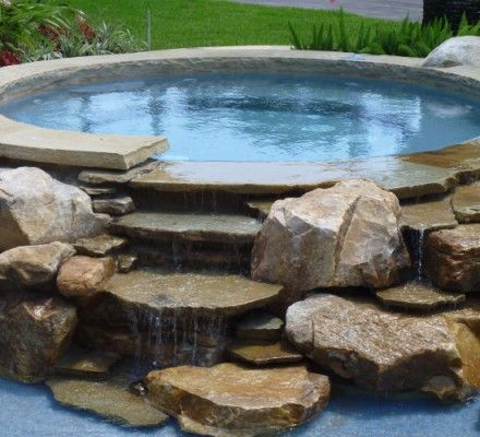 Hot Tub Waterfall Into Pool Using Natural Rock Elements Swimming