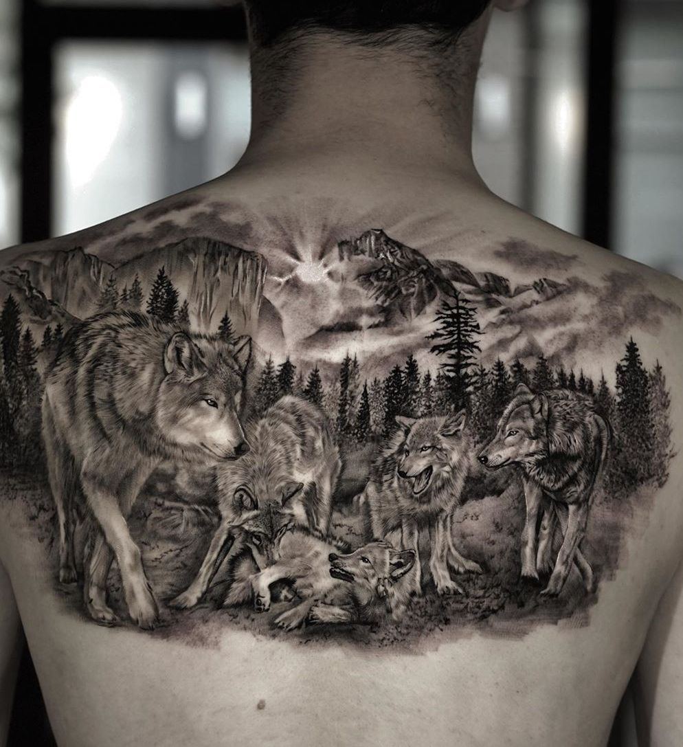50 Of The Most Beautiful Wolf Tattoo Designs The Internet Has Ever Seen Wolf Pack Tattoo Wolf Tattoo Design Wolf Tattoo Sleeve
