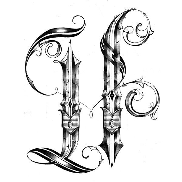 e7bd32a7c8d Image Of Tattoo Style Letter H Tattoo letter H Royalty Free Vector ...