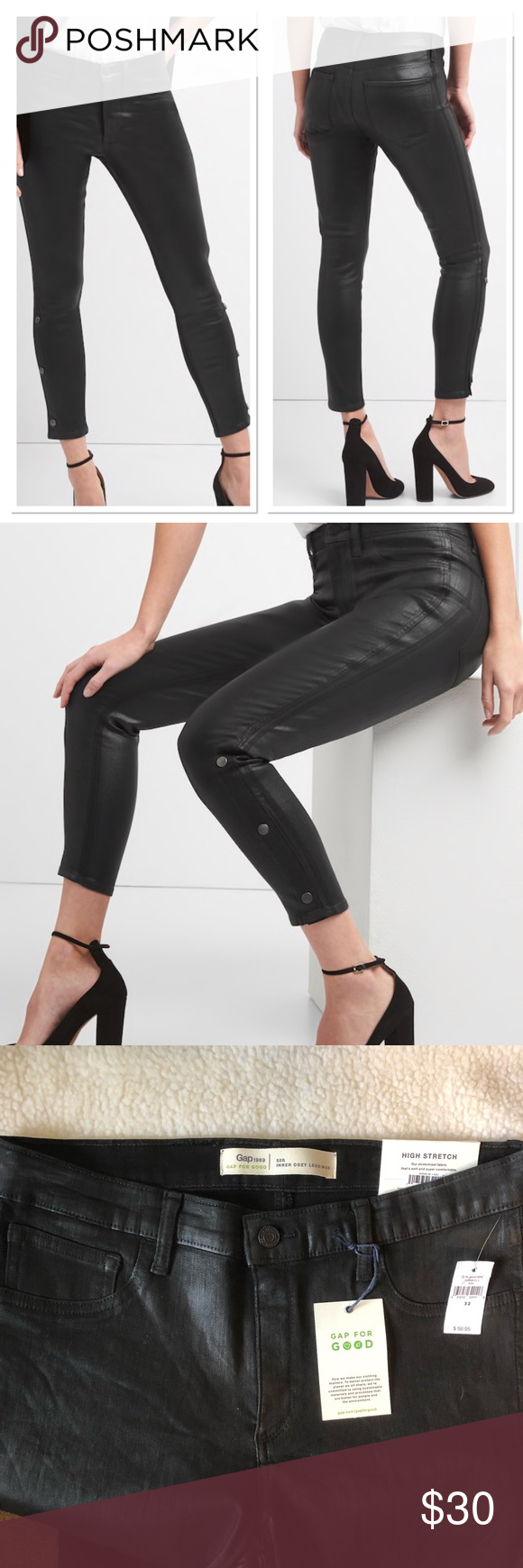 76525e87be3df Gap High Stretch Inner Cozy Leggings GAP Mid Rise Inner Cozy Favorite  Jeggings in Coated Black
