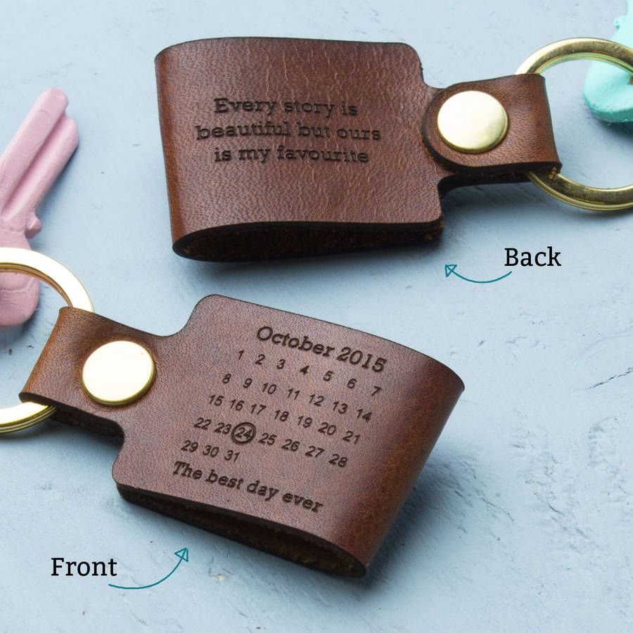 Personalised Never Forget Date Leather Keyring 3rd Year Anniversary Gifts Third Wedding Anniversary Anniversary Gift For Her