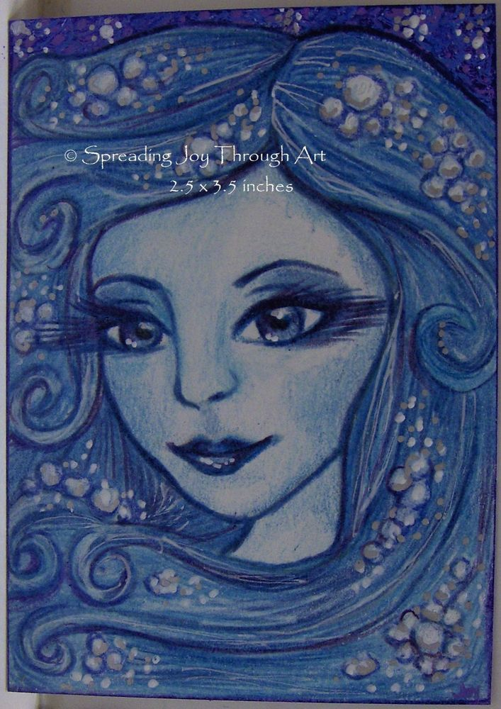 ACEO Original Art Joy Lake River Ocean Water Nymph Goddess Woman Ghost Haunt  #Miniature