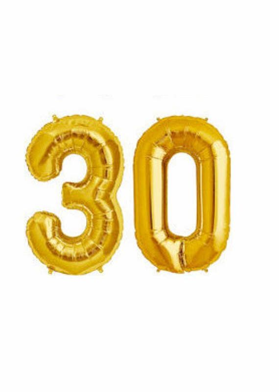 GOLD Number 30 Balloon 30th Birthday Photo Prop