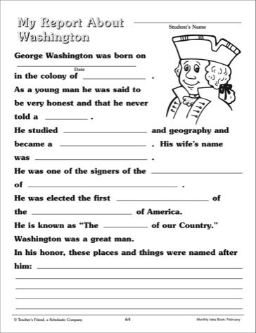 george washington worksheets - Google Search | Summer Worksheets ...