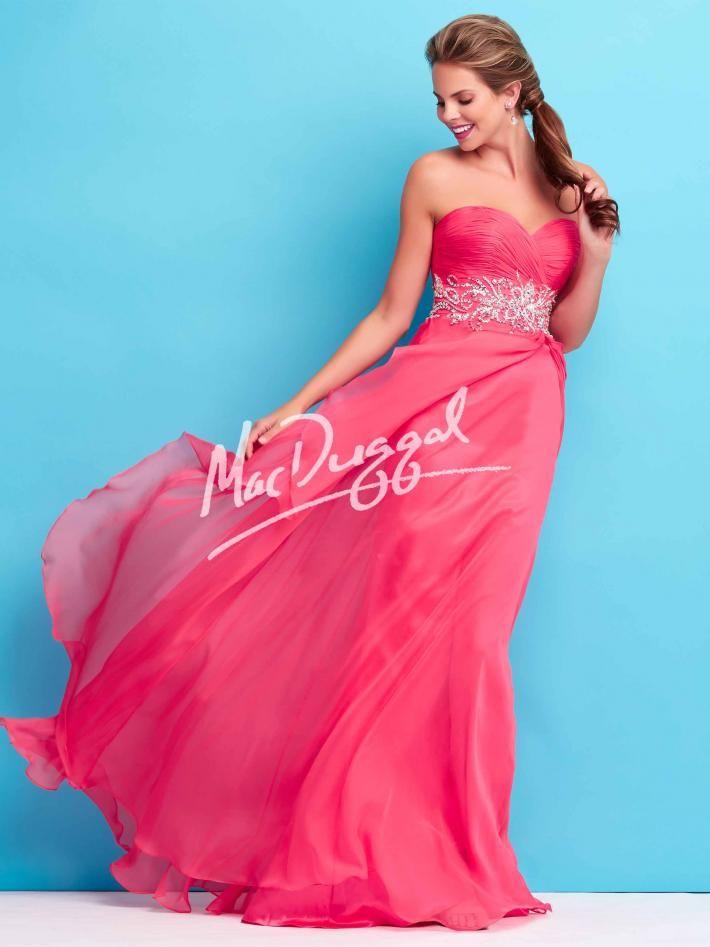 Watermelon Pink Prom Dress | Strapless | Mac Duggal 65110L | PrAHM ...