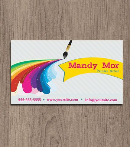 Fun Painter Artist Business Card Pre Made By Naomigraphics 12 50 Painted Business Cards Painter Business Card Business Cards Watercolor