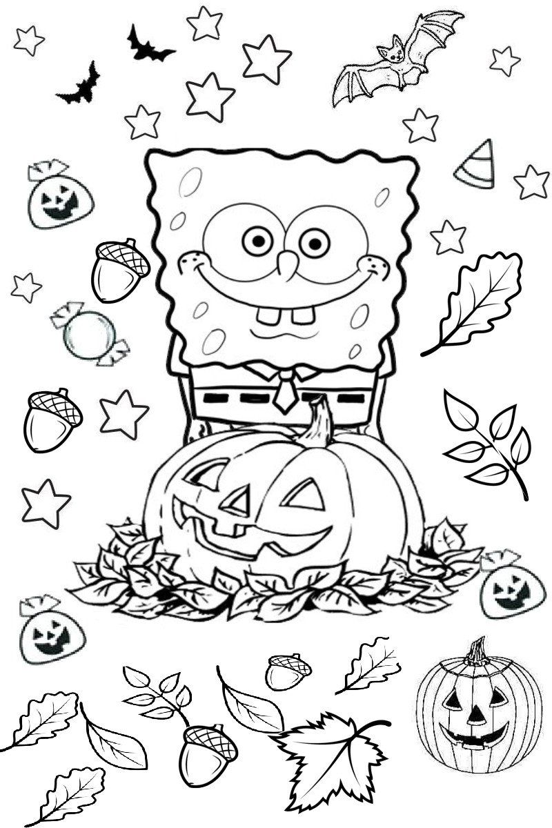 Halloween Pumpkin Coloring Pages Spongebob Squarepants Halloween Spooky Bats And P Halloween Coloring Pages Printable Pumpkin Coloring Pages Bat Coloring Pages