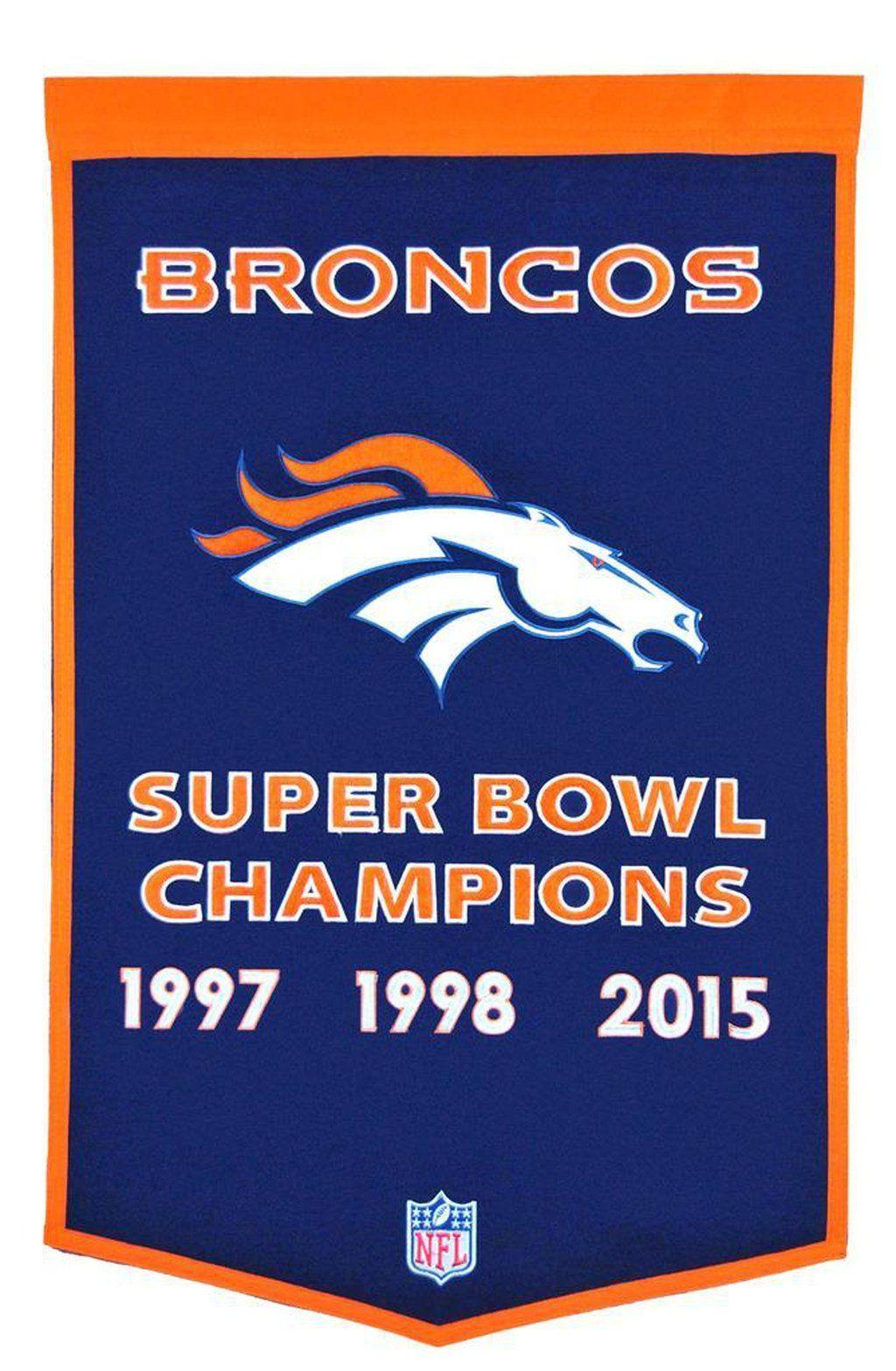 Denver Broncos Vintage Wool Dynasty Banner With Cafe Rod