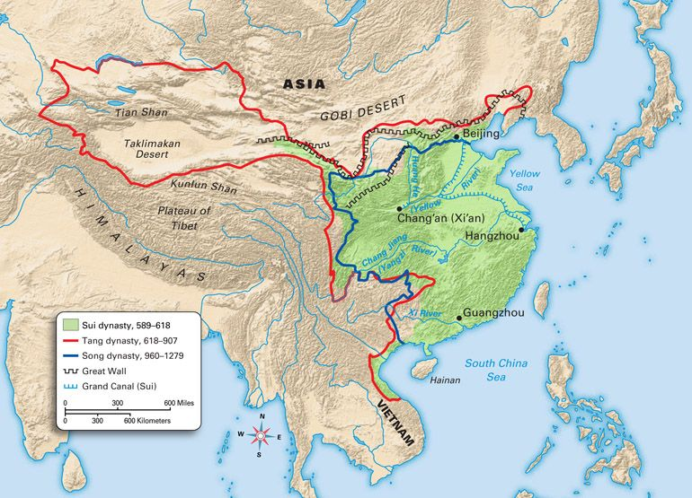 China resources this shows the way resources were traded on the another map of the territory of the sui dynasty ad showing three major sciox Choice Image