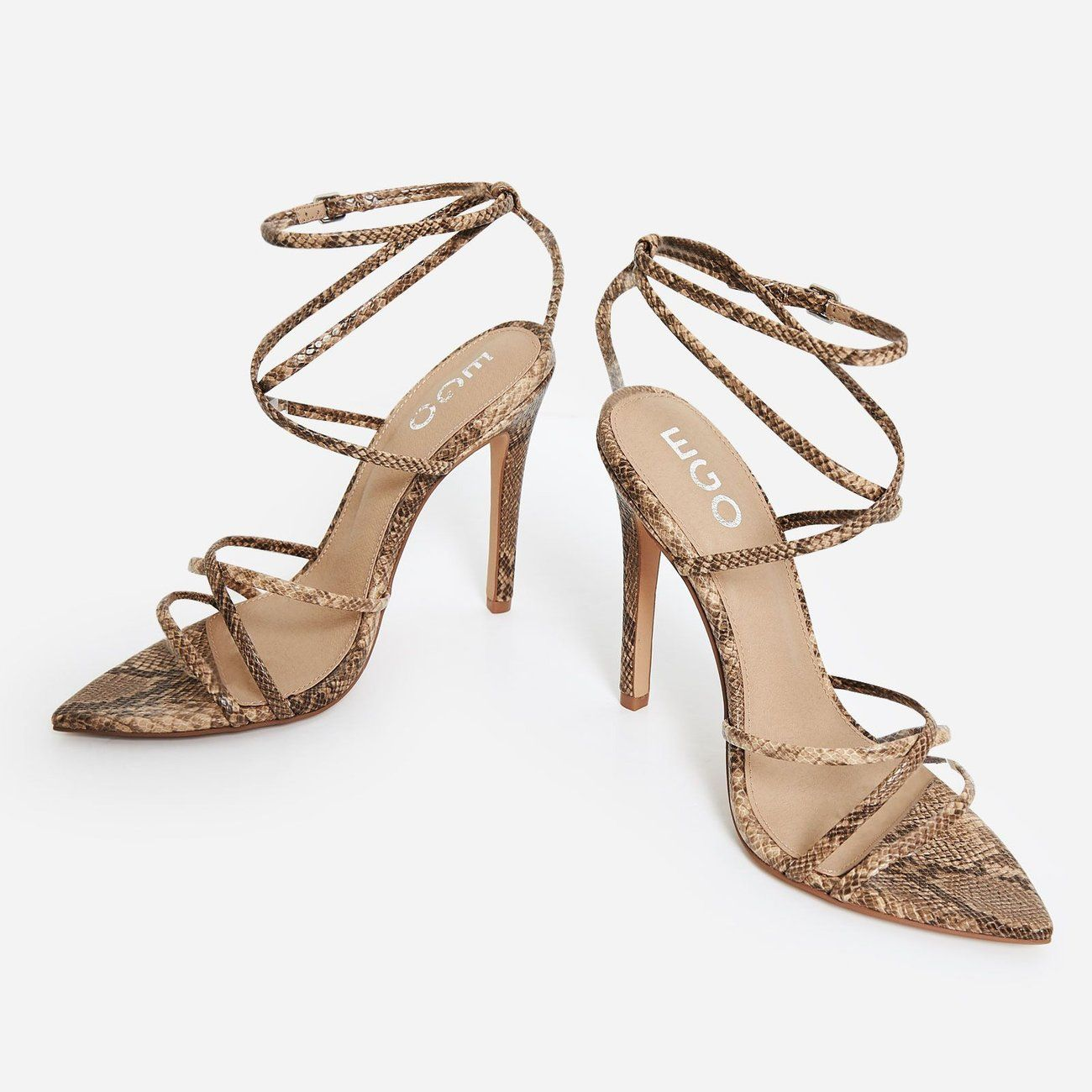 e5c5d50aecf Kaia Pointed Barely There Heel In Nude Snake Print Faux Leather ...