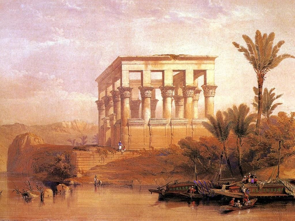 David roberts ancient egyptian oil painting 1 academic for Egyptian mural paintings