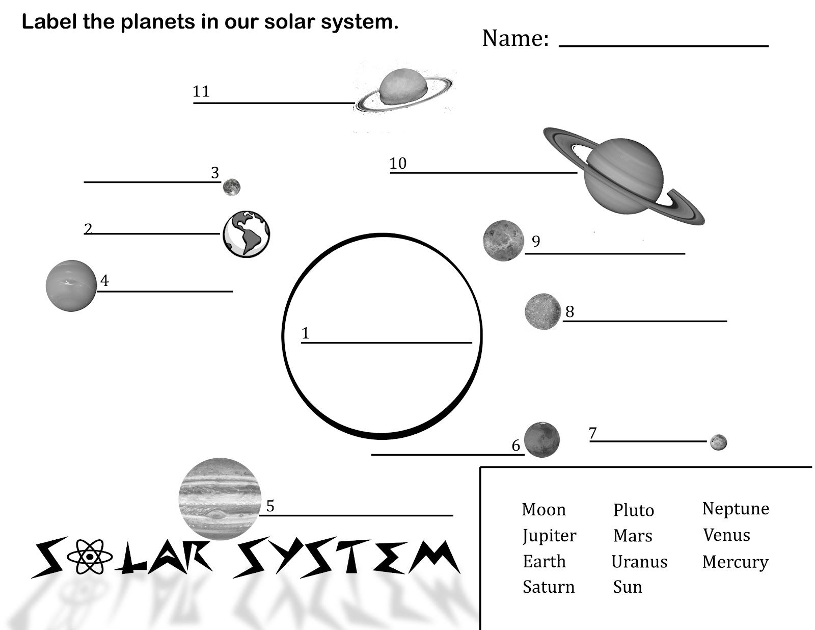 Free Printable Picture Solar System – Planet Worksheets
