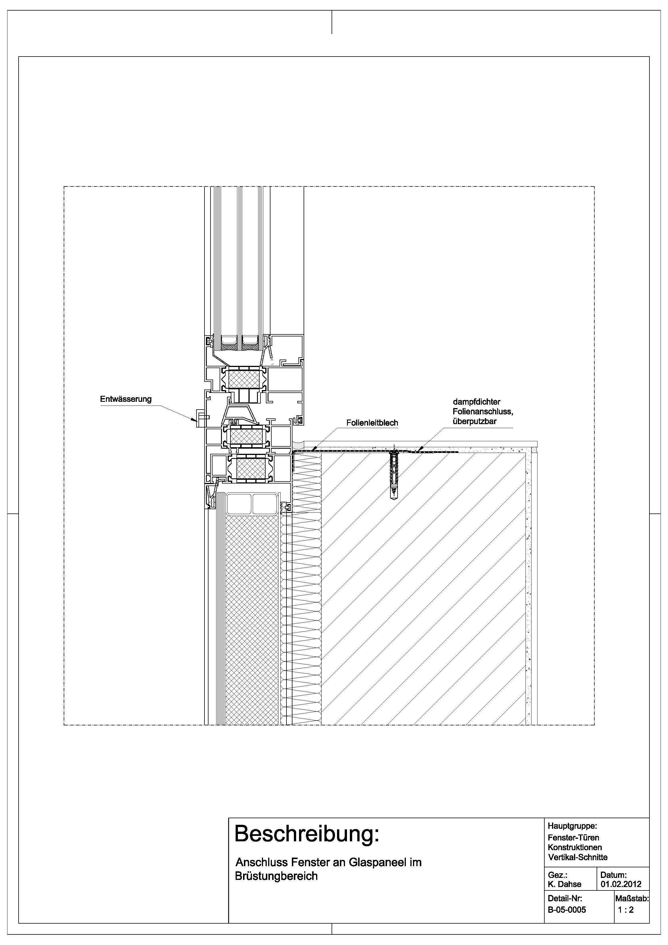 Tür vertikalschnitt  B-05-0005 Anschluss Fenster an Glaspaneel im Brüstungsbereich ...