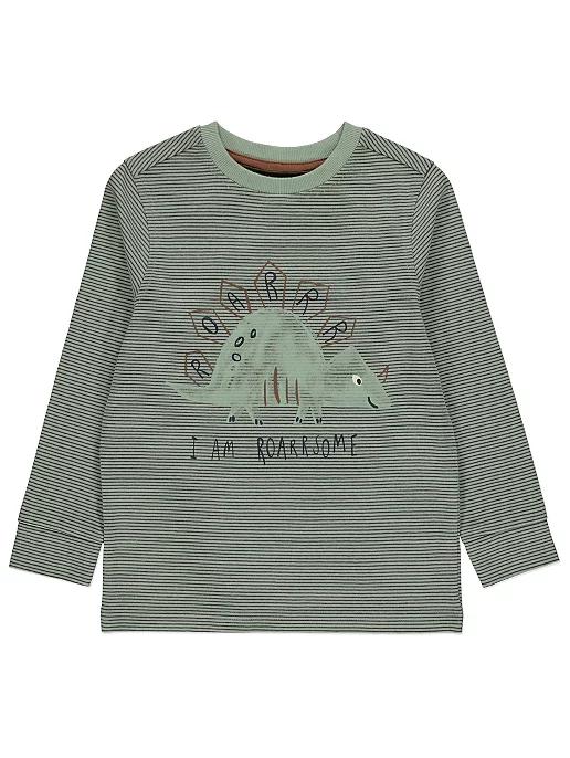 Sage Green Roarsome Slogan Cotton Striped Top | Kids