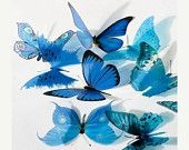 ON SALE 36 x Special Blue 3D Butterflies great by Clearcutcrafts